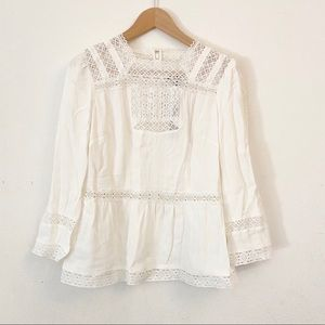 J Crew Point Sur Ivory Lacey Top